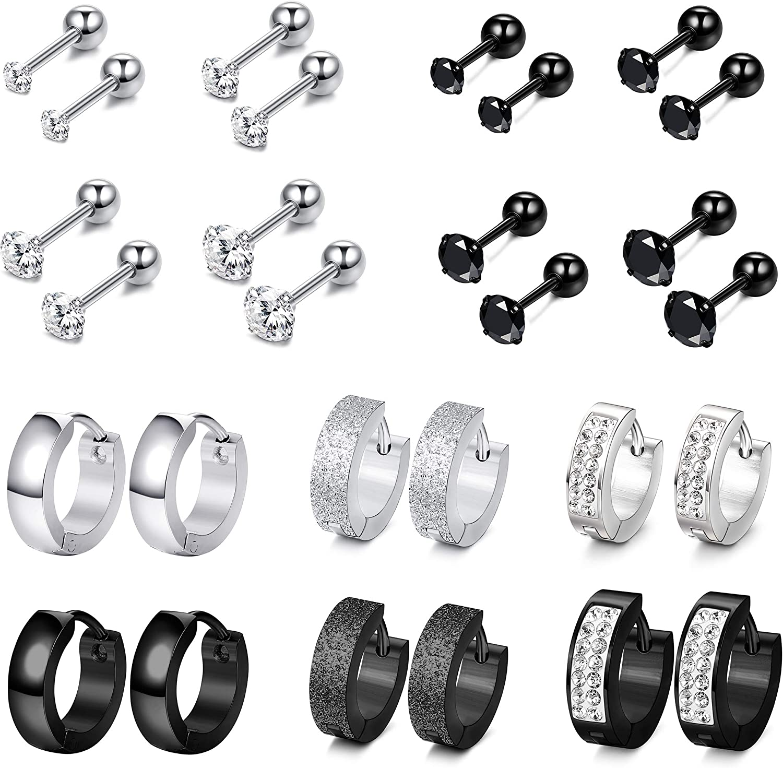 Jstyle 12Pairs Stainless Steel CZ Stud Earrings for Mens Women Hoop Huggie Earrings Ear Cartilage Tragus Helix Piercing Earrings