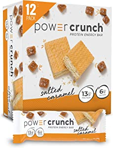 Power Crunch Whey Protein Bars, High Protein Snacks with Delicious Taste, Salted Caramel, 1.4 Ounce (12 Count)