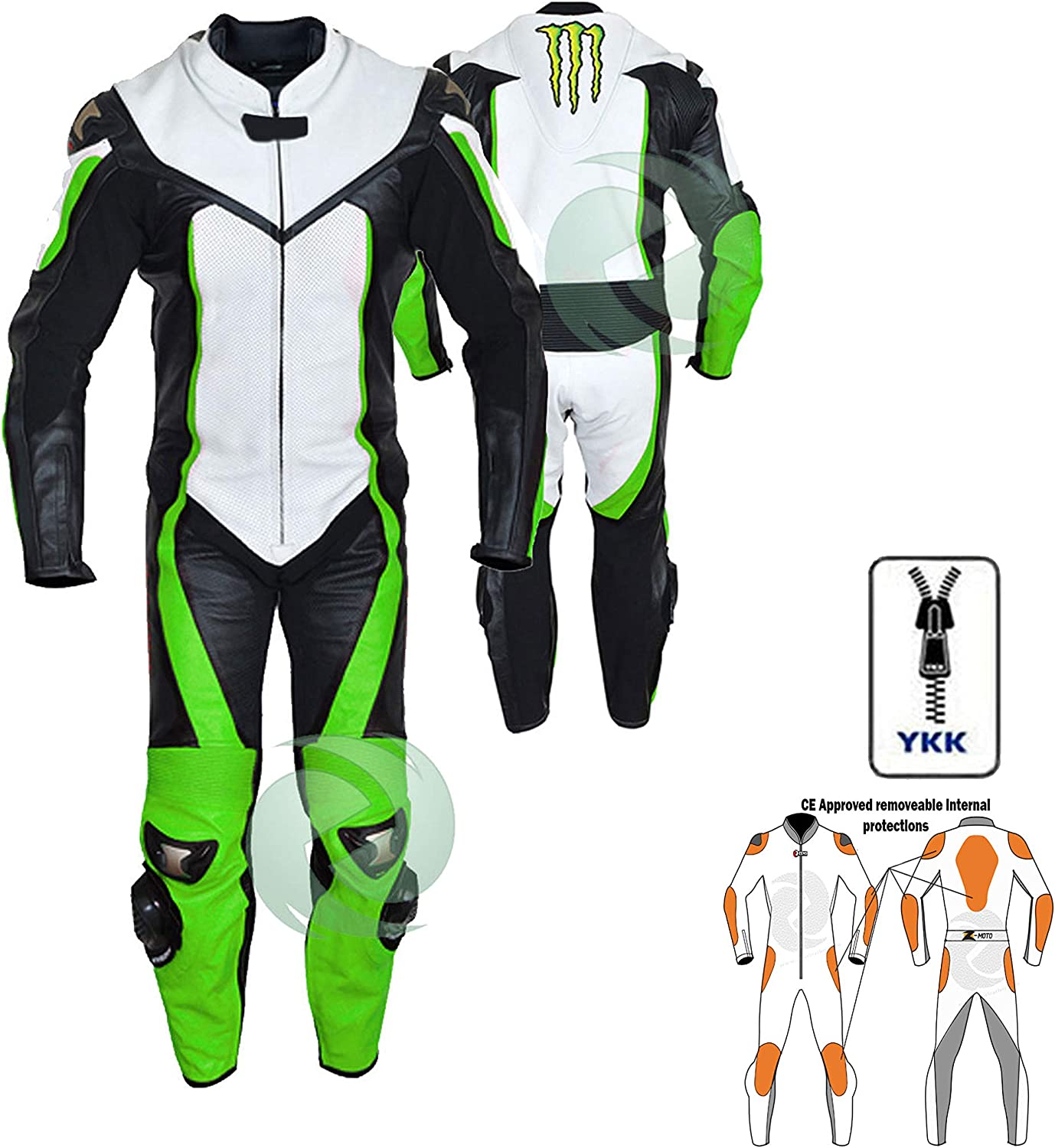 S White motorbike leathers with racing flourecent green come with speed hump and protection one piece motorcycle wear zens leather