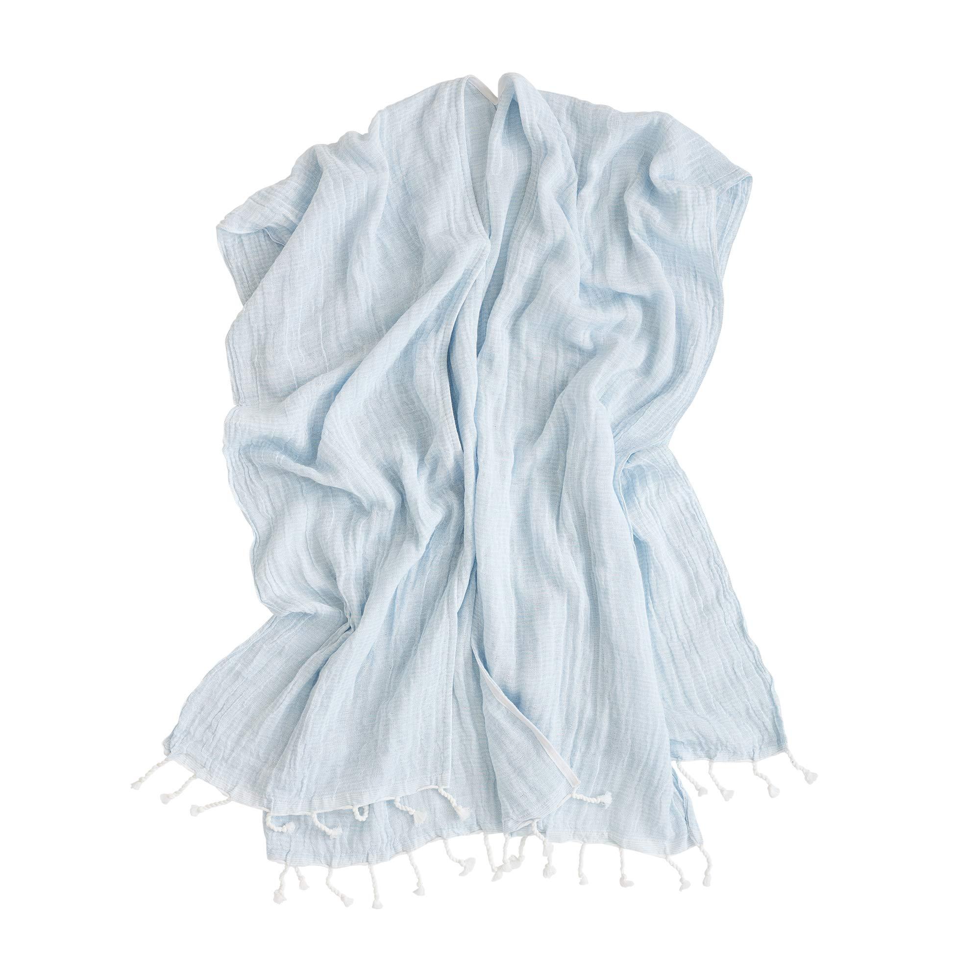 Mer Sea & Co Luxury Beach Wrap with Tote Bag - Light Blue Stripes - 100% Cotton (43'' x 65'')