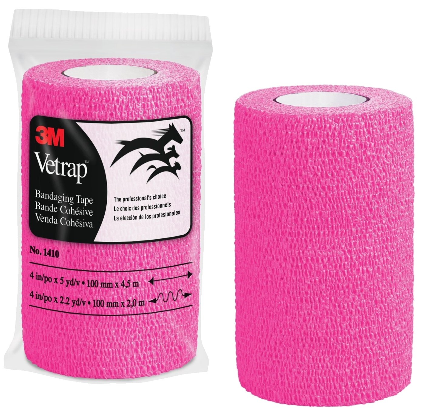 3M Vetrap 4'' Bright Color Bandaging Tape, 4''x 5 Yards, 3M Box, 12 Roll Case (Hot Pink)