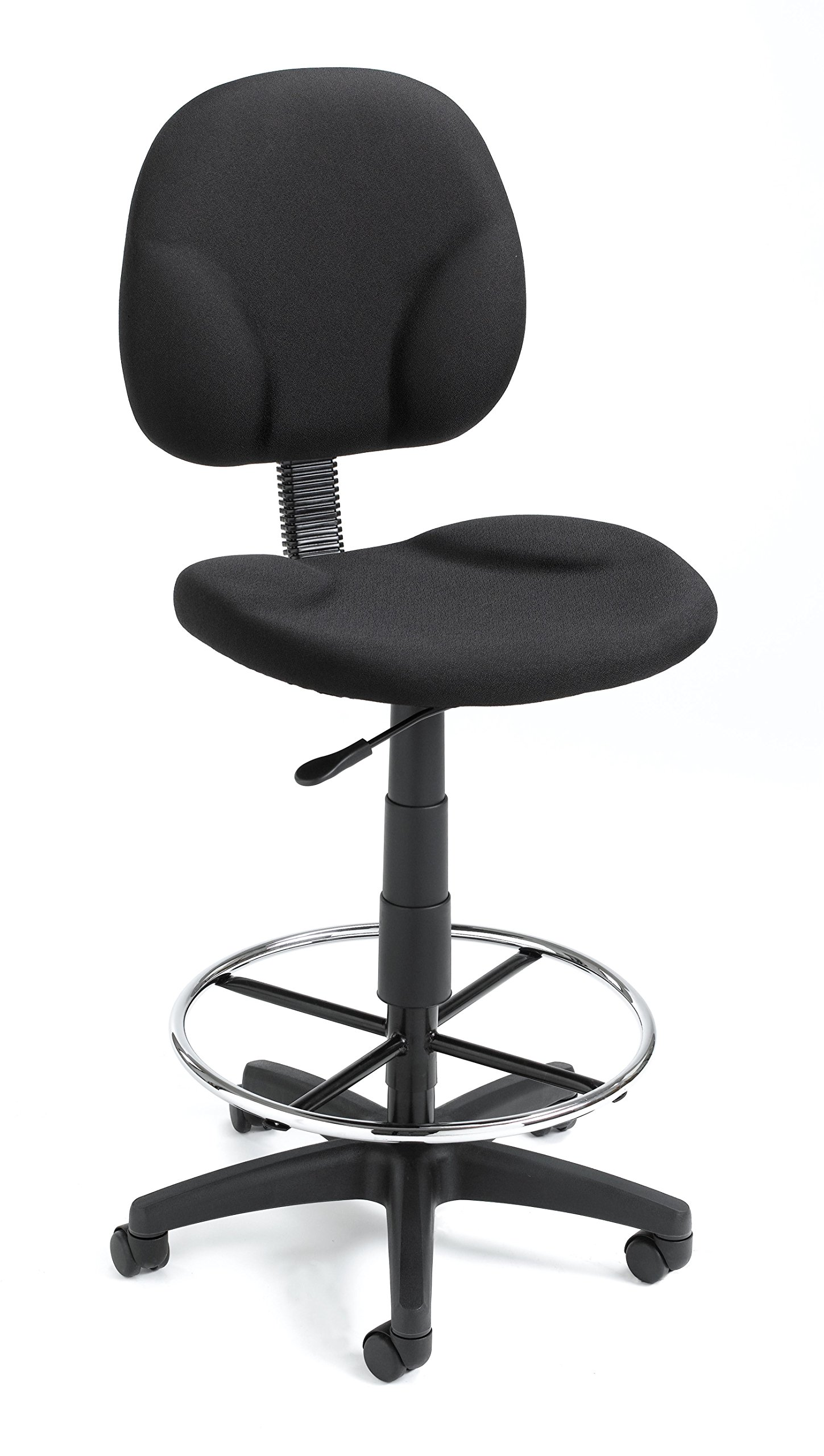 Boss Fabric Drafting Stools w/ Footring Black Crepe/Without Arms