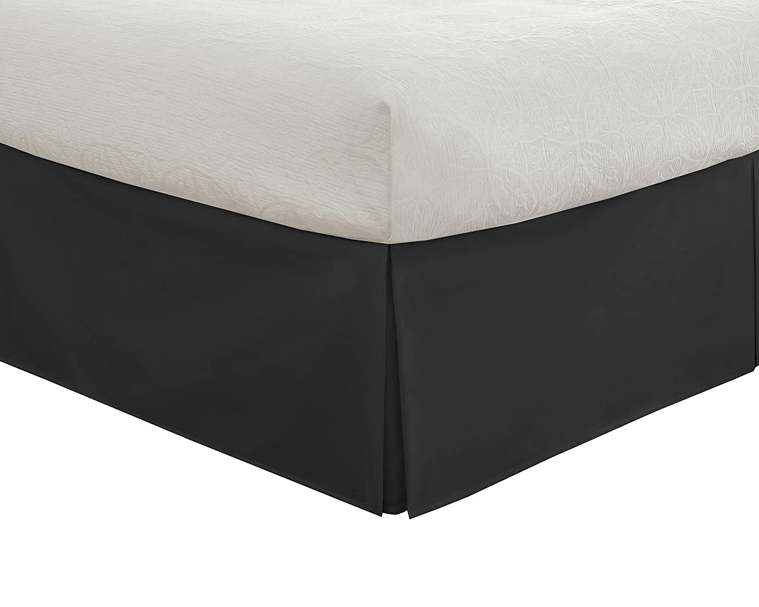 "Fresh Ideas Bedding Tailored Bedskirt, Classic 14"" drop length, Pleated Styling, Twin, Black Levinsohn Textile FRE20114BLAC01"