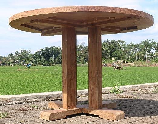 Wohnpalast - Mesa de jardín Redonda (Madera de Teca, 100 x 100 x 78 cm): Amazon.es: Jardín
