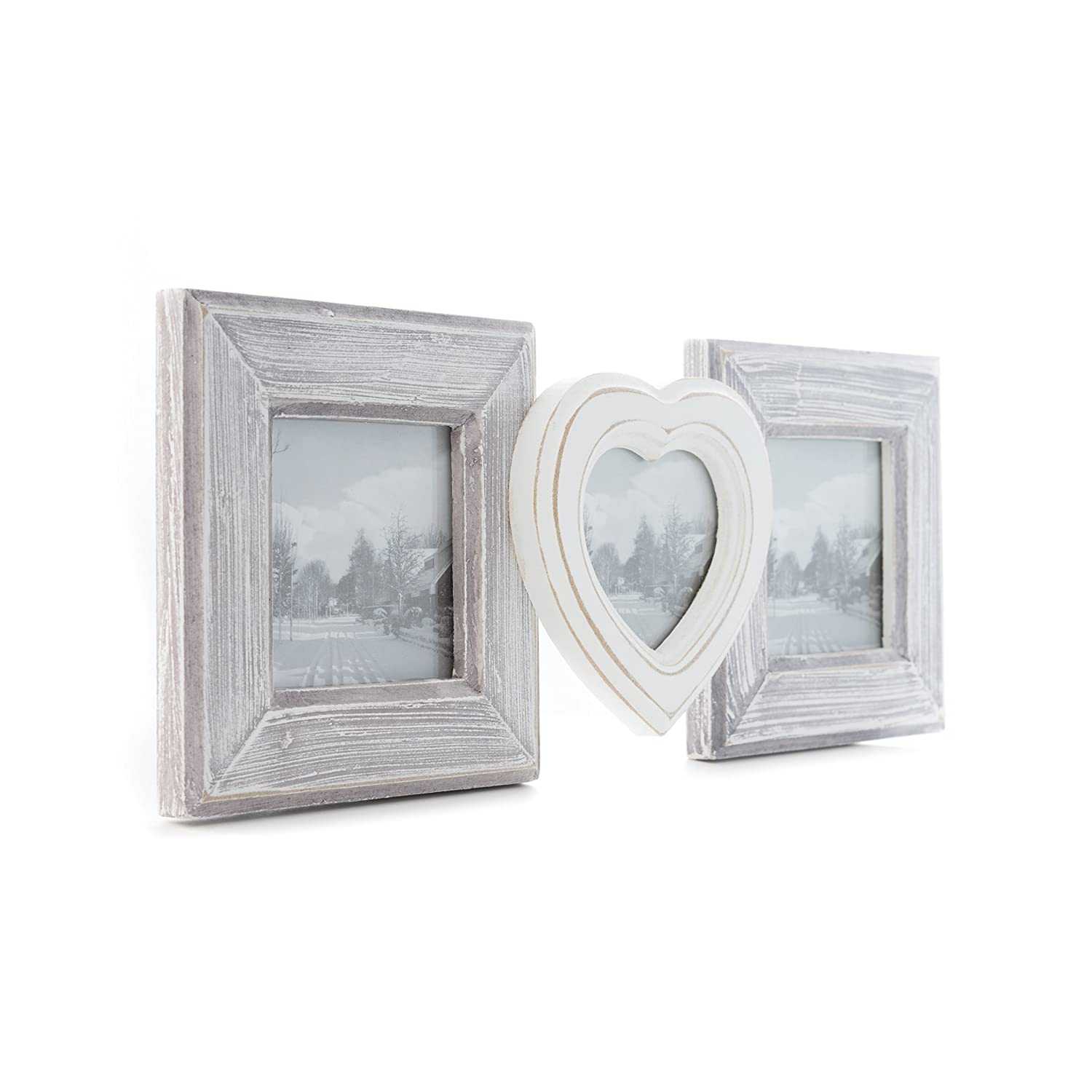 Elbmöbel 3 multi photo frame with heart - wooden collage picture frame classic