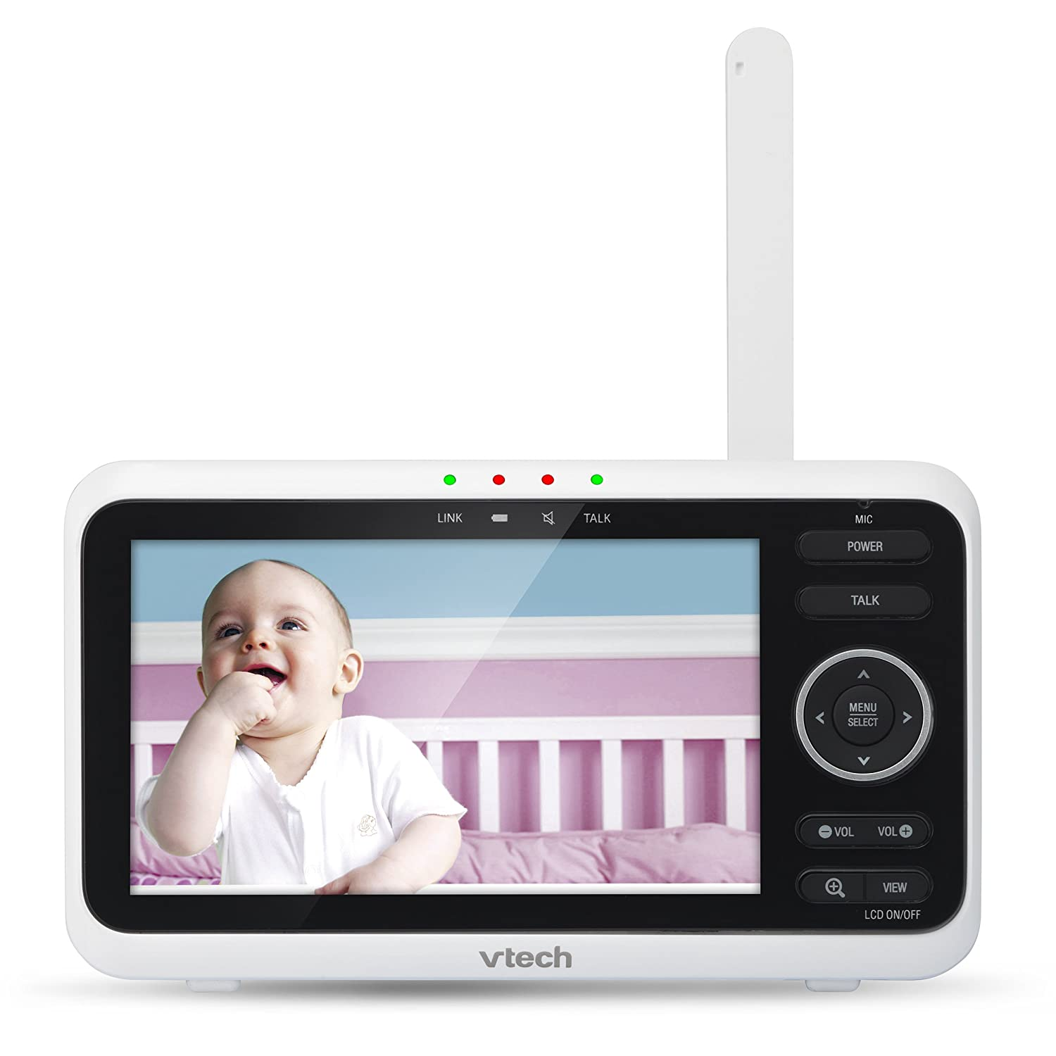 VTech VM350-2 High-Resolution Night Vision 5-inch Screen Video Baby Monitor with 2 Cameras- 2 Way Talk Soothing Sounds and Lullabies