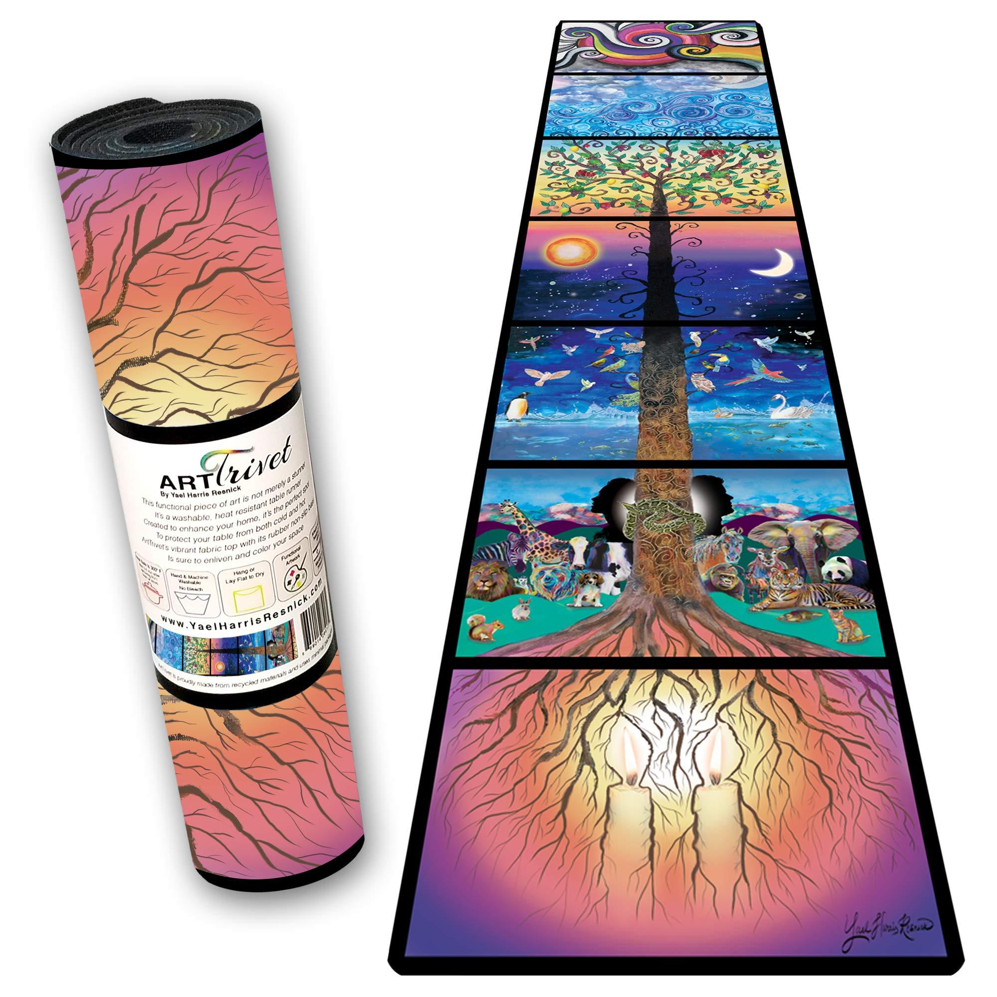 Creation ArtTrivet heat-resistant table runner and trivet - fabric top and non-slip rubber base (12''x48'') by ArtTrivet