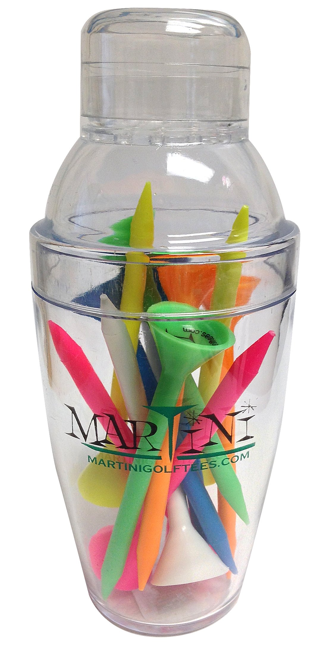 ProActive Sports Martini Golf Mini Shaker with 3-1/4'' Durable Plastic Tees 12-Pack of Assorted Colors