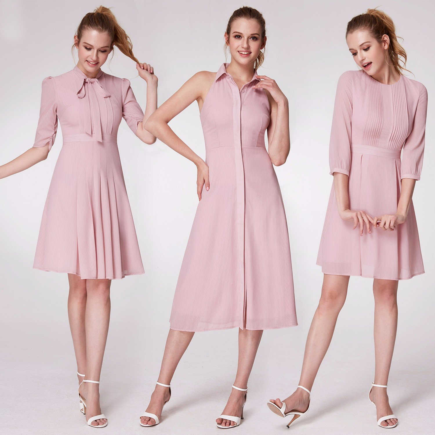 db76a391e5a Alisa Pan 1950s Swing Vintage Party Cocktail Dress Lapel Collar Button  Flared Dress 07196 at Amazon Women s Clothing store