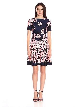 Donna Morgan Women\'s Short-Sleeve Printed Scuba Dress at Amazon ...