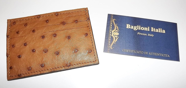 Baglioni Italia Mens Genuine Ostrich Leather Front Pocket Card Case Wallet Brown