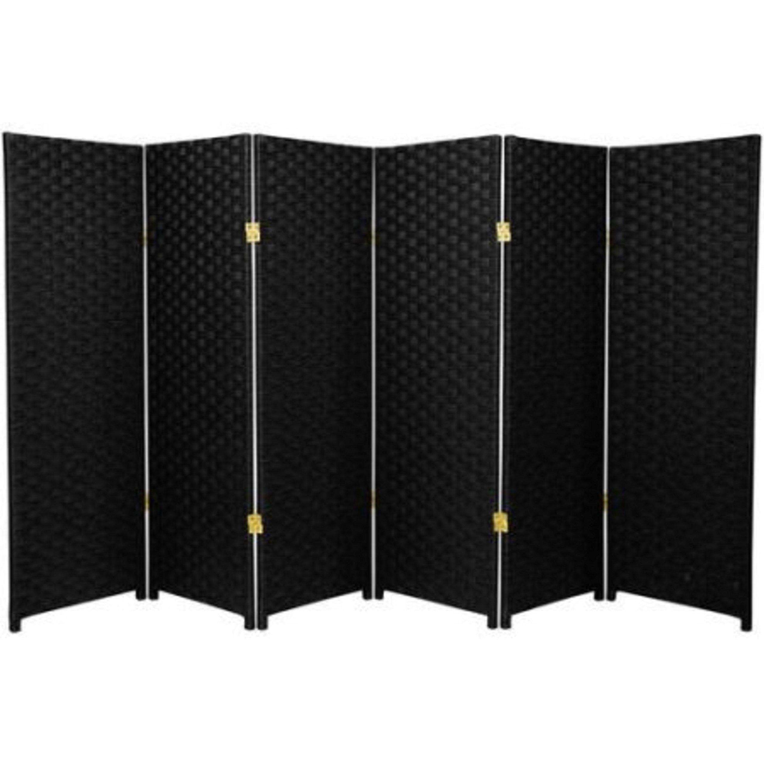 Natural Plant Fiber Woven Room Decor Black 6 Panels Divider