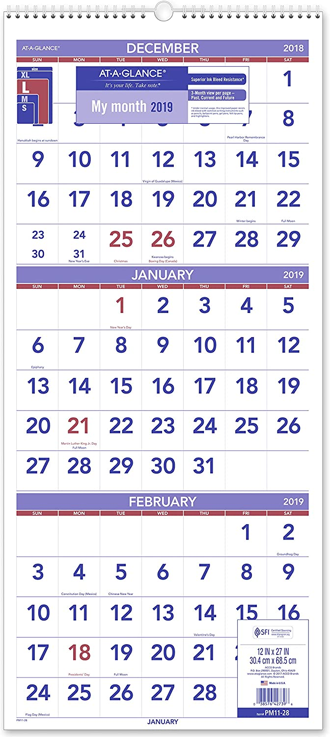 AT-A-GLANCE 2019 Wall Calendar, 3-Month Display, 12