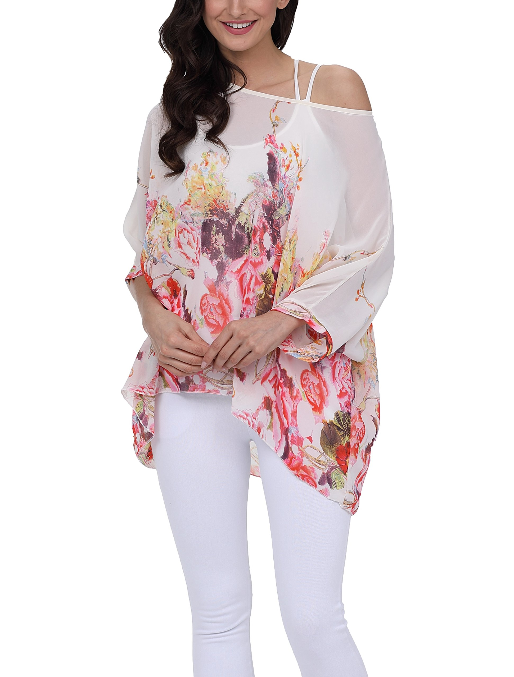 iNewbetter Womens Floral Batwing Sleeve Chiffon Beach Loose Blouse Tunic Tops PB291