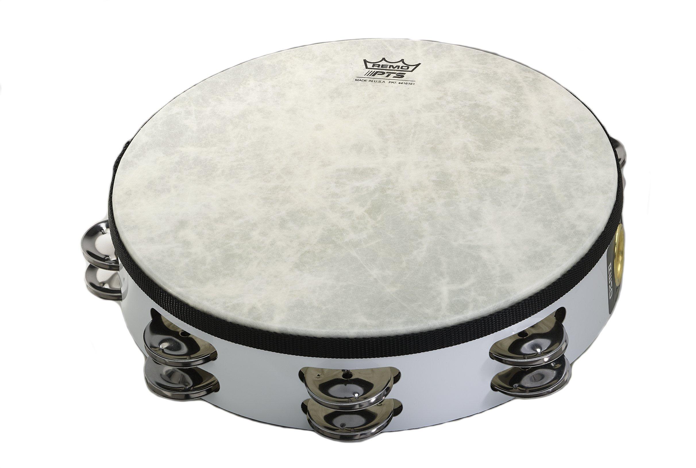 Remo TA-5210-00 Fiberskyn Tambourine - Quadura White, 10''