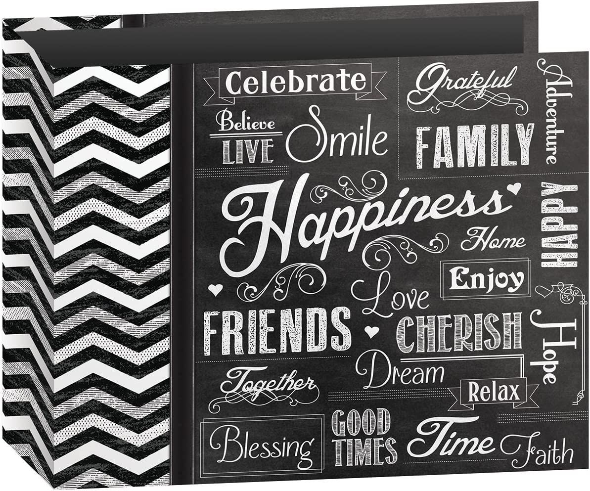 Pioneer Photo Albums T-12CHLK/H 3-Ring Printed Chalkboard Design Binder Happiness Scrapbook, 12 by 12-Inch