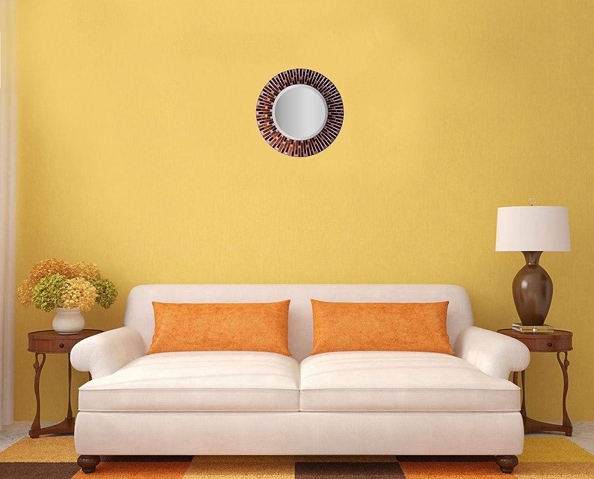 "LuLu Decor, Amber Rays Mosaic Wall Mirror, Decorative Beautiful Round Beveled Wall Mirror, Frame Measures 16"", Beveled Mirror Measures 9.5"" (LP84M)"