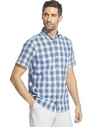 0c03eeb1562b IZOD Men's Slim Fit Saltwater Dockside Chambray Short Sleeve Button Down  Plaid Shirt, Clear air