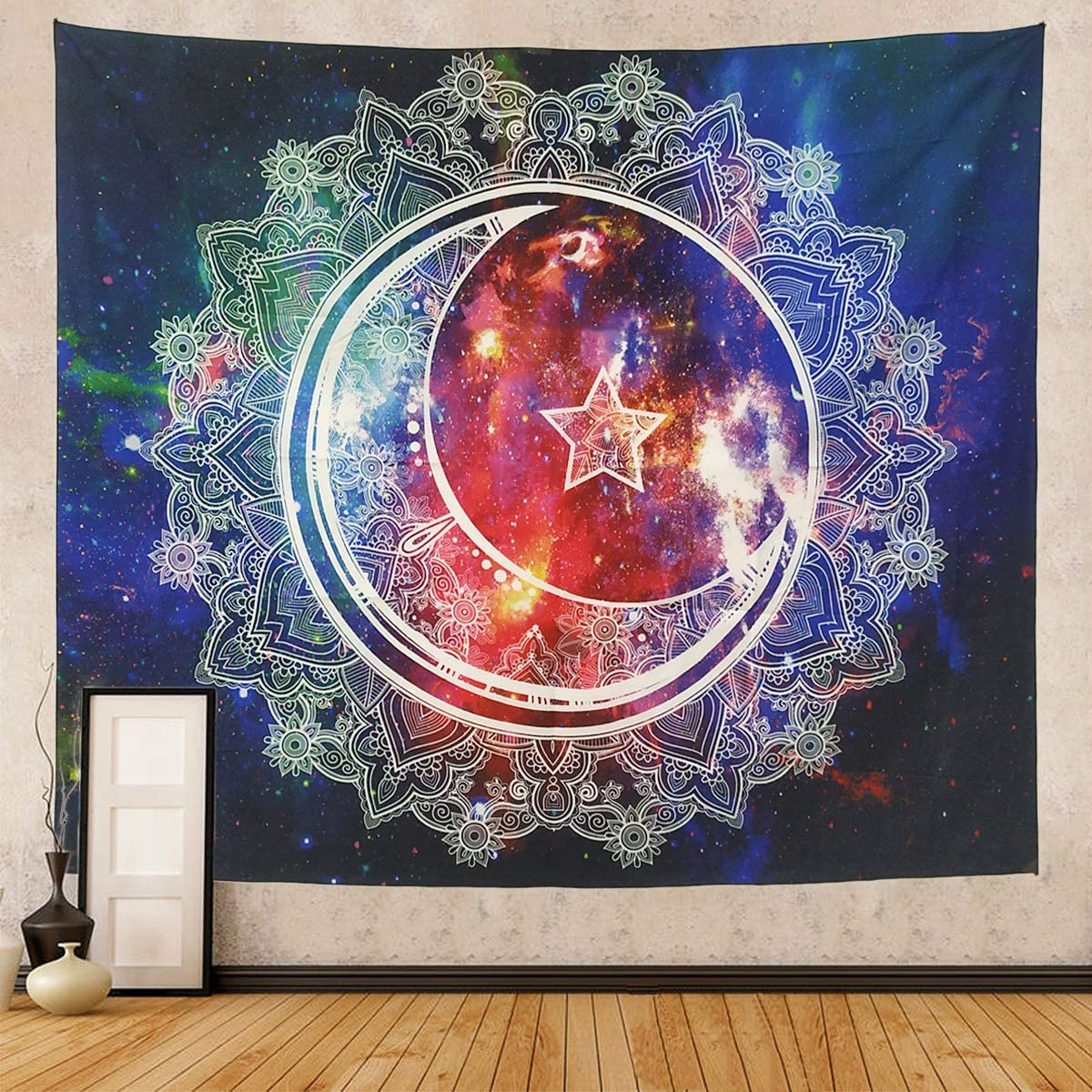 Tapestry Wall Hanging,Galaxy Psychedelic Tapestries, Mandala Bohemian Hippie Wall Tapestry for Bedroom Dorm Decor(Mandala-59.1
