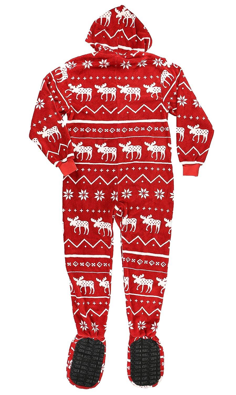 Footed Suit Osies with Zipper and Hood Hoodeez Adult Zip-up Onsie Pajamas by LazyOne
