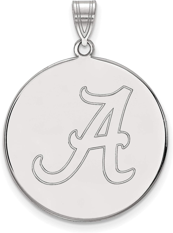 University of Alabama Crimson Tide School Letter on Sterling Silver Disc Pendant 26x25mm