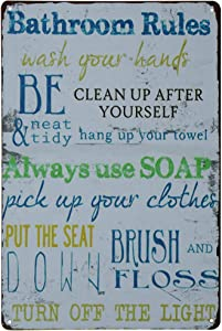 PXIYOU Laundry Rules Typography Vintage Distressed Metal Tin Signs Rustic Laundry Room Bathroom Wall Plaque 8X12Inch