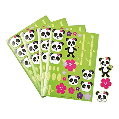 Fun Express - Panda Party Sticker Sheets for Birthday - Stationery - Stickers - Stickers - Sheets - Birthday - 12 Pieces: Toys & Games