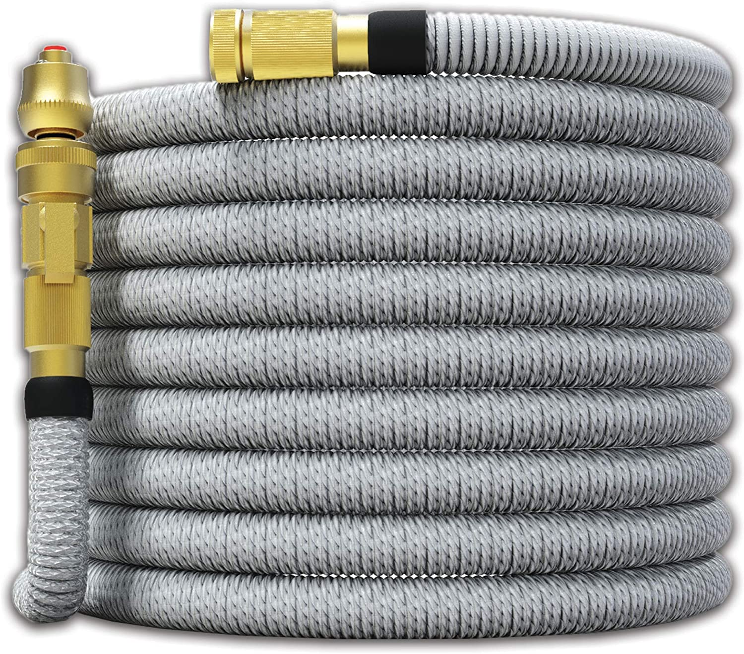 "TITAN 15FT Garden Hose - All New Expandable Water Hose with Dual Latex Core 3/4"" Solid Brass Fittings Expanding Extra Strength Fabric Flexible Hose with Jet Nozzle and Washers"