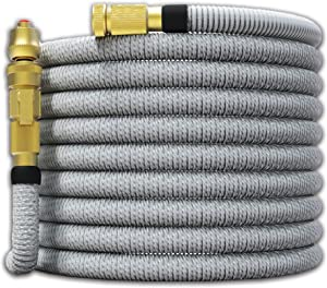 "TITAN 75FT Garden Hose - All New Expandable Water Hose with Dual Latex Core 3/4"" Solid Brass Fittings Expanding Extra Strength Fabric Flexible Hose with Jet Nozzle and Washers"