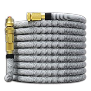 "TITAN 150FT Garden Hose - All New Expandable Water Hose with Dual Latex Core 3/4"" Solid Brass Fittings Expanding Extra Strength Fabric Flexible Hose with Jet Nozzle and Washers"