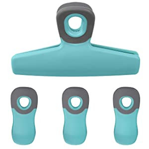 Cook with Color Set of Four Bag Clips, 1 Large Heavy Duty Chip Clip and 3 Refrigerator Magnet Clips for Food Storage with Air Tight Seal Grip for Snack Bags and Food Bags (Teal)