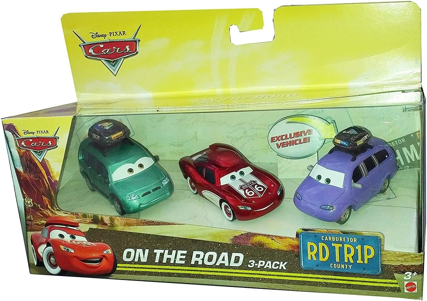 Disney Pixar CARS: On The Road 3 Pack - Cruisin Lightning McQueen, Van, Mini with Luggage Carrier: Amazon.es: Juguetes y juegos