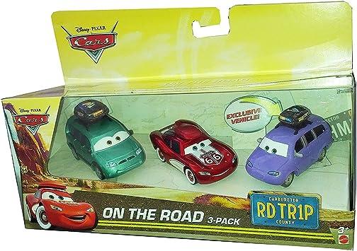 Disney Pixar CARS: On The Road 3 Pack - Cruisin Lightning McQueen, Van, Mini with Luggage Carrier: Amazon.es: Juguetes y juegos