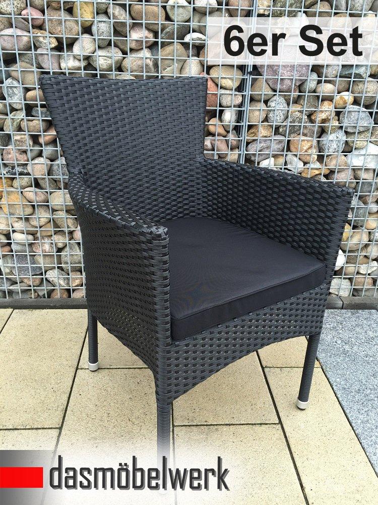 6er SET Dasmöbelwerk Polyrattan Sessel Stuhl Stapelbar Rattan Gartenmöbel  Schwarz Gartensessel HAWAI Günstig Online Kaufen