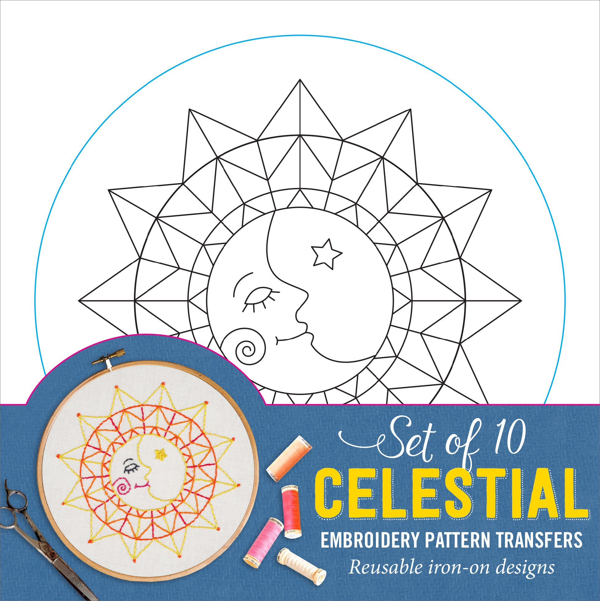 Celestial Embroidery Pattern Transfers (set of 10 hoop designs!)