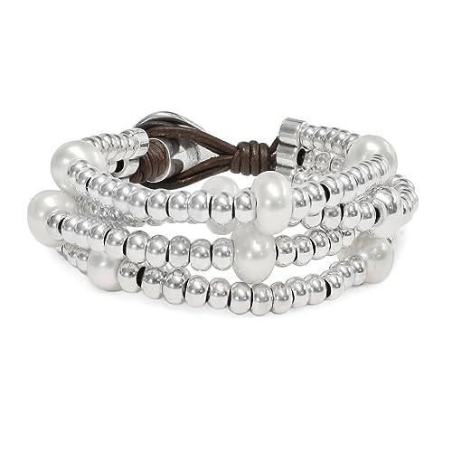 Beau Soleil Jewelry Schmuck Damen Armband Lederarmband mit Süsswasser  Perlen Potato Lederschmuck Ibiza Style  Amazon.de  Schmuck ed969a0a14