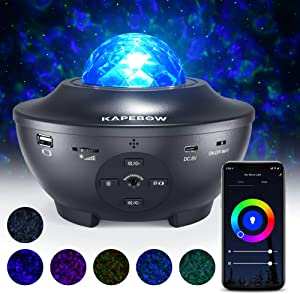 Star Projector, Galaxy Star Night Light Projector Working With Smart App & Alexa, 10 Color Music Starry Light Projector With Remote & Bluetooth, Ocean Wave Sky Light Projector For Bedroom Kids, Adults