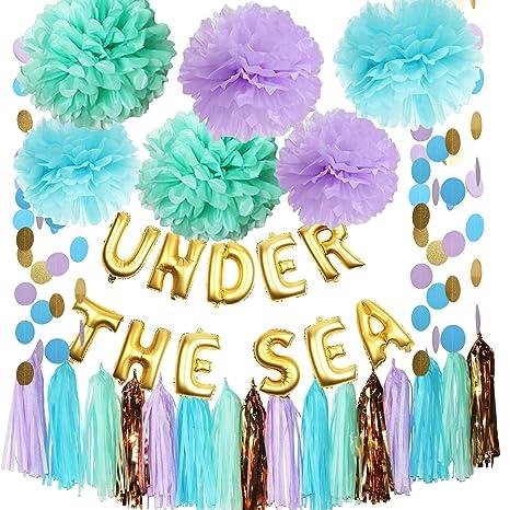 Decoraciones de fiesta de sirena para debajo del mar, color ...