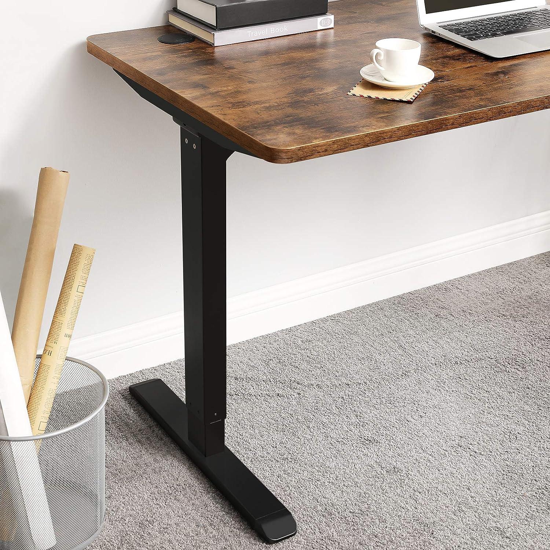 Tischgestell mit Motor SONGMICS Elektrischer Schreibtisch cm Schreibtischst/änder Stahl vintagebraun-schwarz LSD011B01 stufenlose H/öhenverstellung 120 x 60 x 73-114