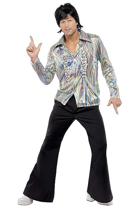 Smiffys Smiffys-33841L Disfraz Retro de los 70, con Estampado psicodélico, Camisa y Pantalones de Campana, Color Negro, L-Tamaño 42