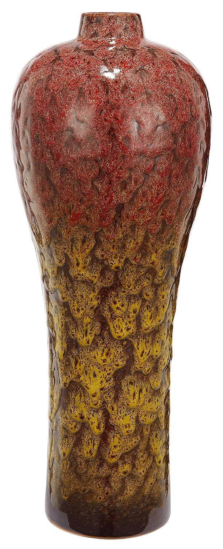 Benzara BM180998 Beautifully Textured Ceramic Vase Red and Yellow