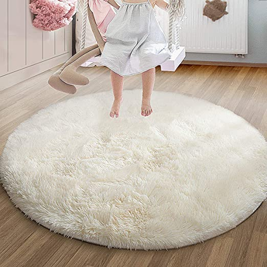 Amazon Com Soft Circle Area Rug With Long Silky Fur Round Shaggy Rug Round Fluffy Area Rugs Plush Circle Floor Carpet Mat For Bedroom Living Room Floor Decor 4ft Diameter White Kitchen