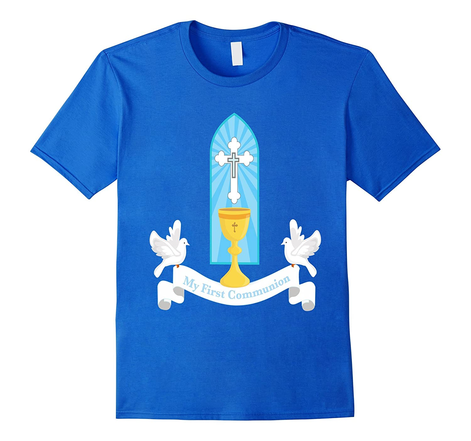 First Communion Shirt Gift Kids Chalice Cross Son Daughter-CD