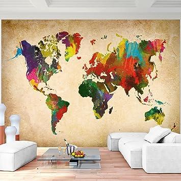 Fototapete Weltkarte Landkarte Vlies Wand Tapete Wohnzimmer ...