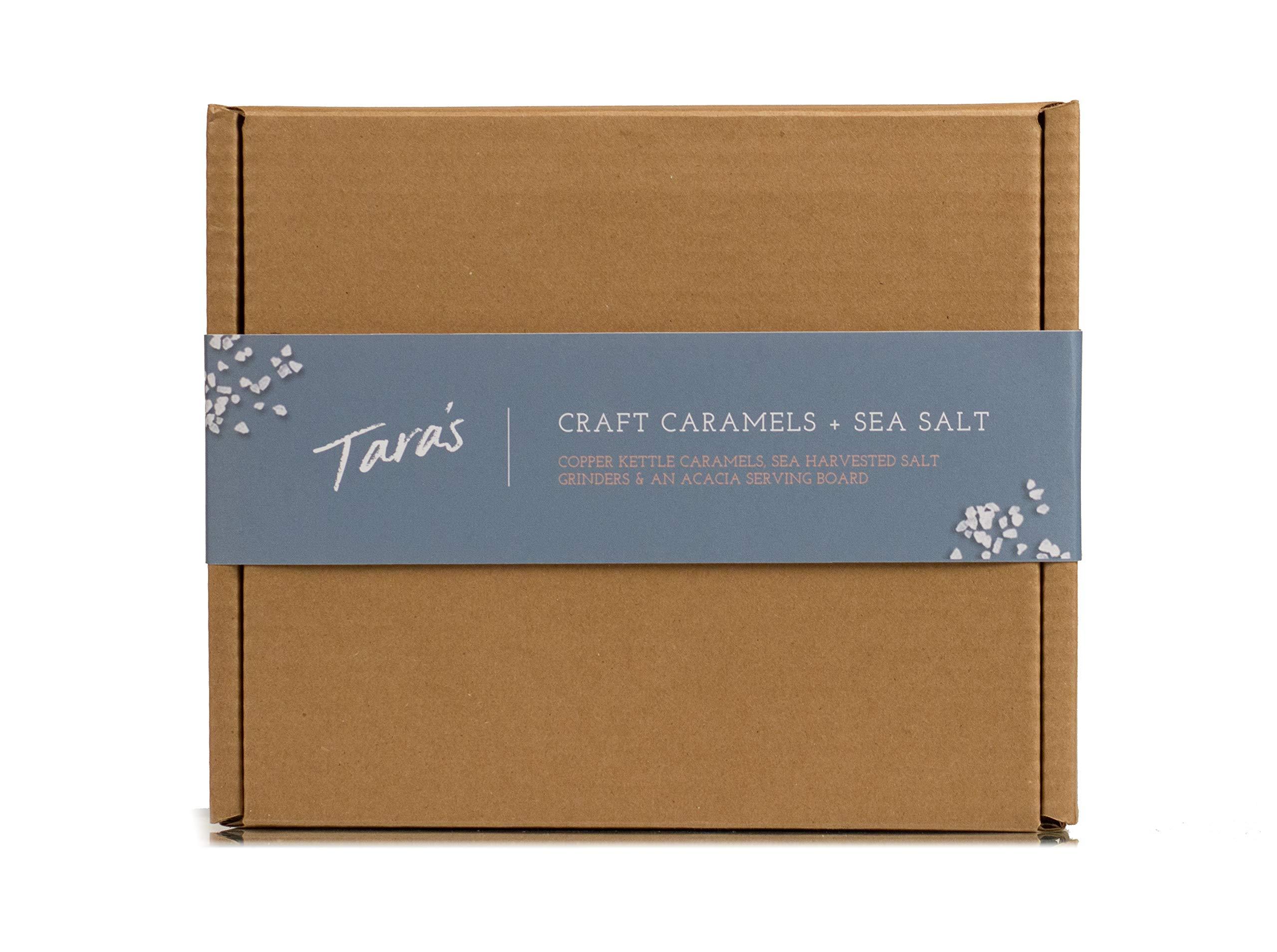 Tara's All Natural Handcrafted Gourmet Craft Caramel Collection + Sea Salt Grinders Gift Box: Original Vanilla, Sea Salt, and Pecan