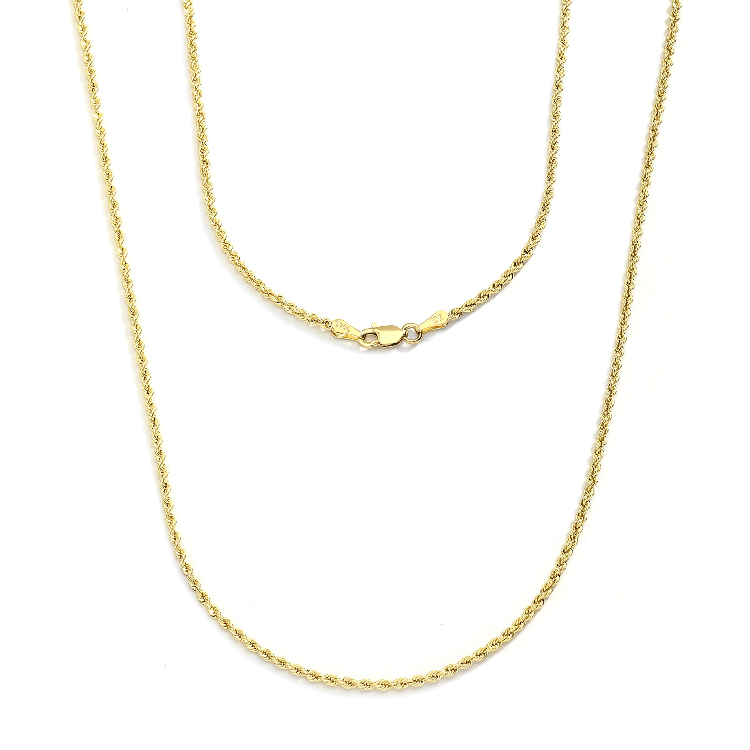 18 Inch 10k Yellow Gold Hollow Rope Chain Necklace with Lobster Claw Clasp for Women and Men, 2mm by SL Chain Collection (Image #6)