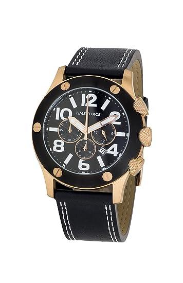 Time Force TF3089M11 - Reloj Unisex de Cuarzo, Correa de Piel Color Negro: Amazon.es: Relojes