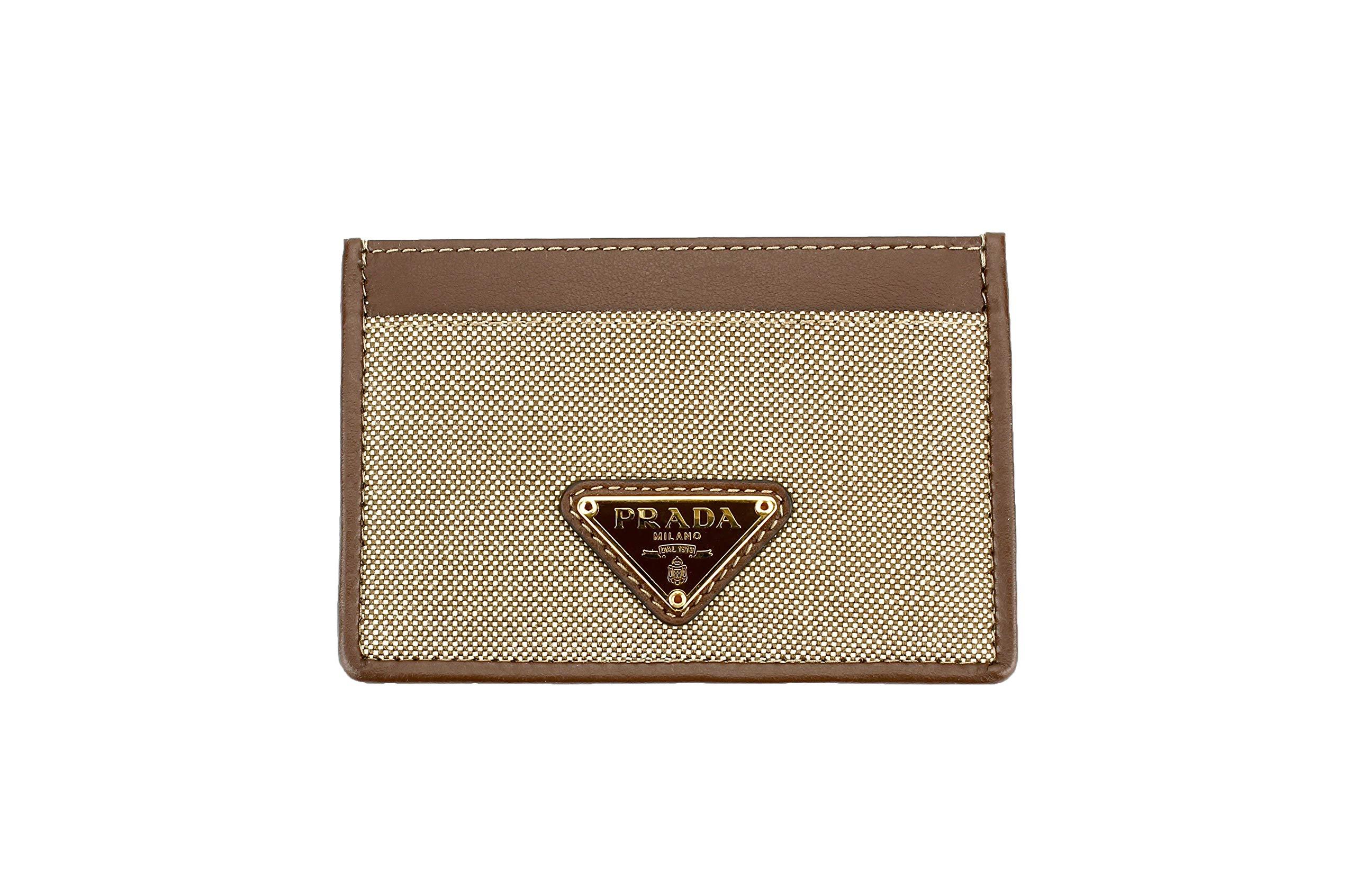 Prada Corda Canvas Logo Plaque Card Case Holder, Brown/beige by Prada (Image #1)