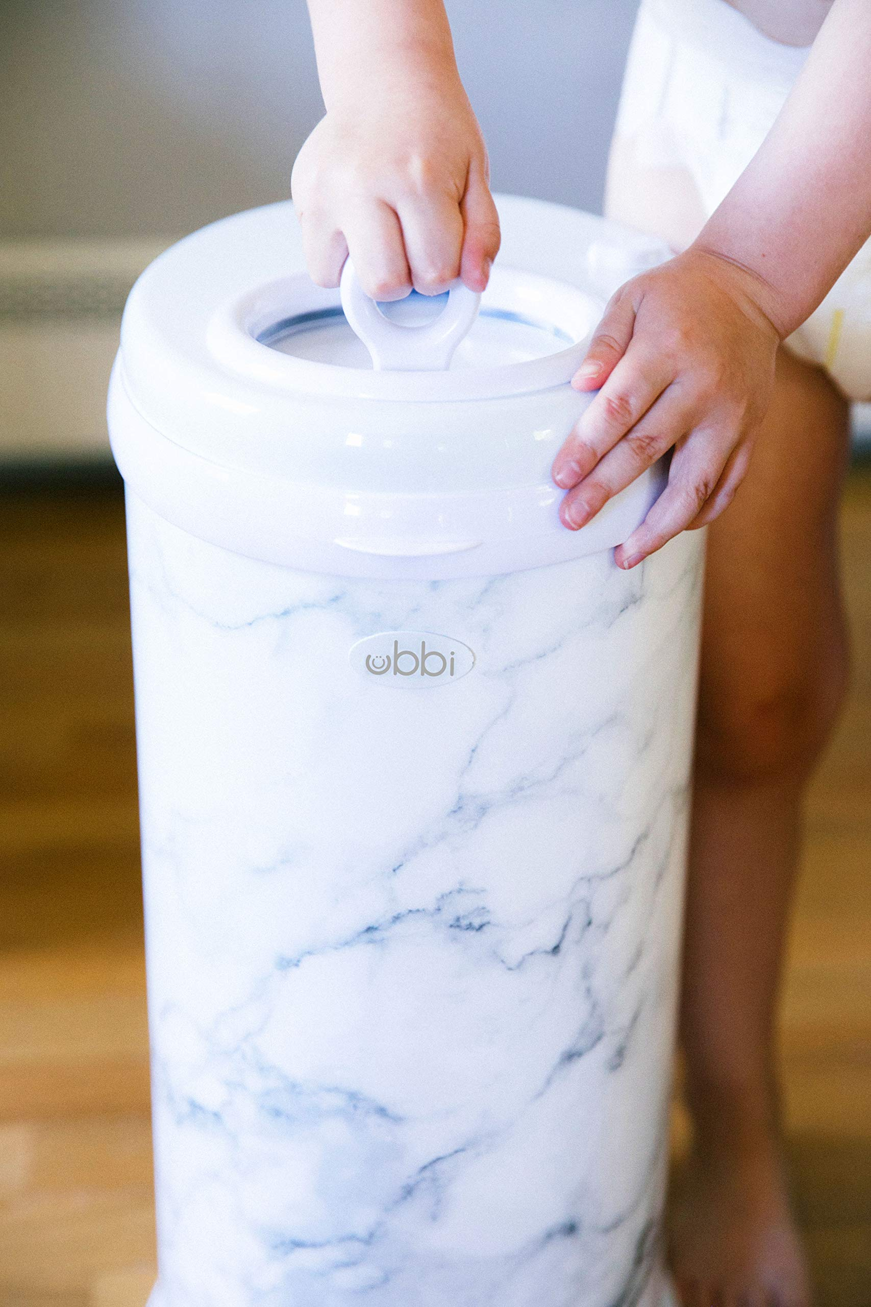 Ubbi Steel Odor Locking, No Special Bag Required Money Saving, Awards-Winning, Modern Design Registry Must-Have Diaper Pail, Marble by Ubbi (Image #3)