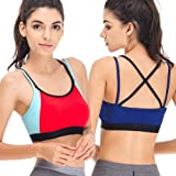 b6a7afad87 Curve Muse Womens Plus Size Racerback Strappy Active Fitness Sports Bra 1  or 2PK